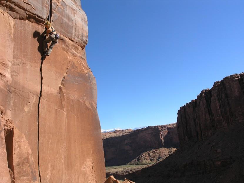 Lisa Jey Davis rock climbing